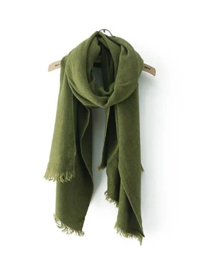 Olive Green Frayed Trim Scarf
