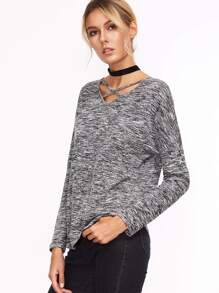 T-shirt tricoté col V avec lacet - gris