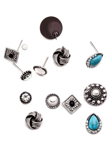 Antique Silver Gemstone Geometric Carved Stud Earrings Set