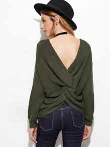 Army Green Double V Neck Knotted Back Sweater