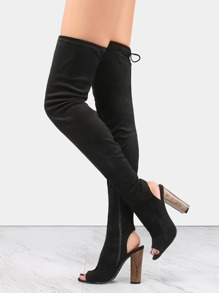 Tie Back Suede Thigh Boots BLACK