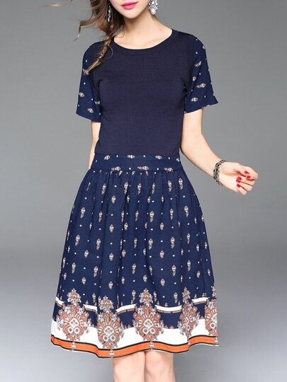 Navy Knit Tribal Print Combo Dress