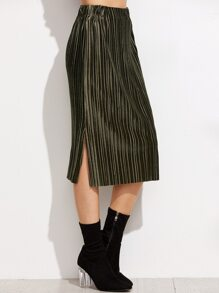 Army Green Slit Side Pleated Velvet Skirt