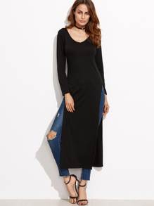 Black Slit Side Long T-shirt