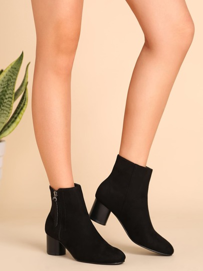 Black Faux Suede Almond Toe Side Zipper Short Boots
