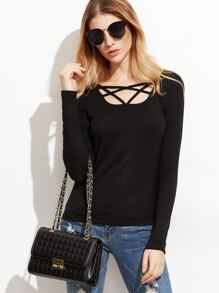 Black Caged Square Neck Slim Fit T-shirt