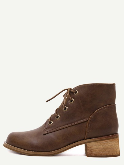 Brown Faux Leather Lace Up Cork Heel Short Boots