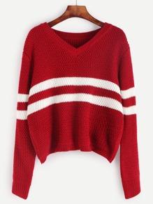 Red Striped Chevron Knit Crop Sweater