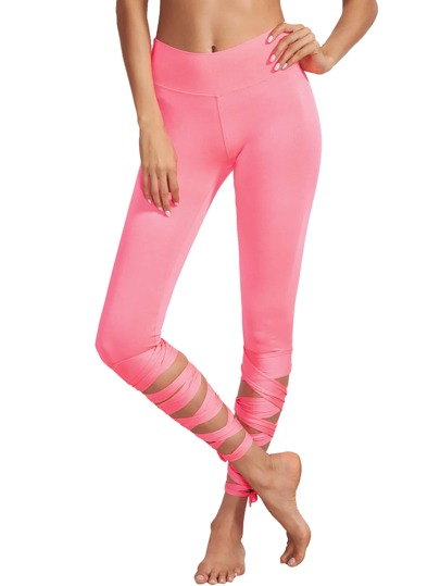 Pink Wide Waistband Tie Up Leggings