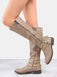 Exposed Zipper Flat Knee Boots TAUPE