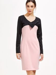 Color Block V Neck Bow Dress