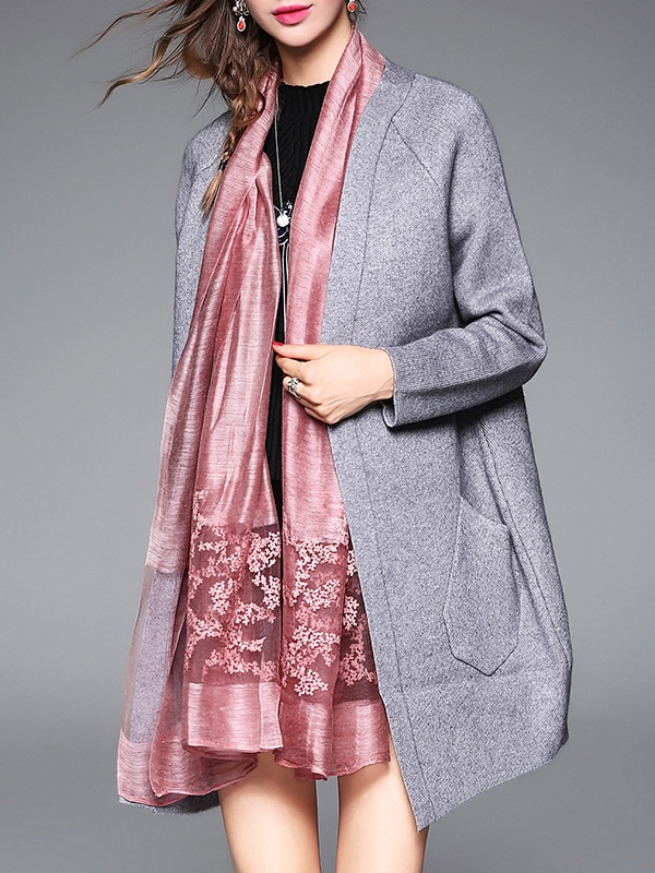 Grey Bird Embroidered Pockets Cardigan coat161021603