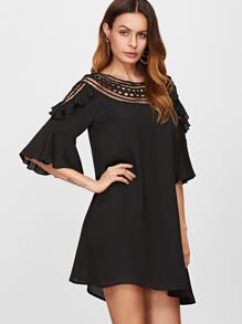 Black Hollow Out Crochet Neck Ruffle Trim Dress