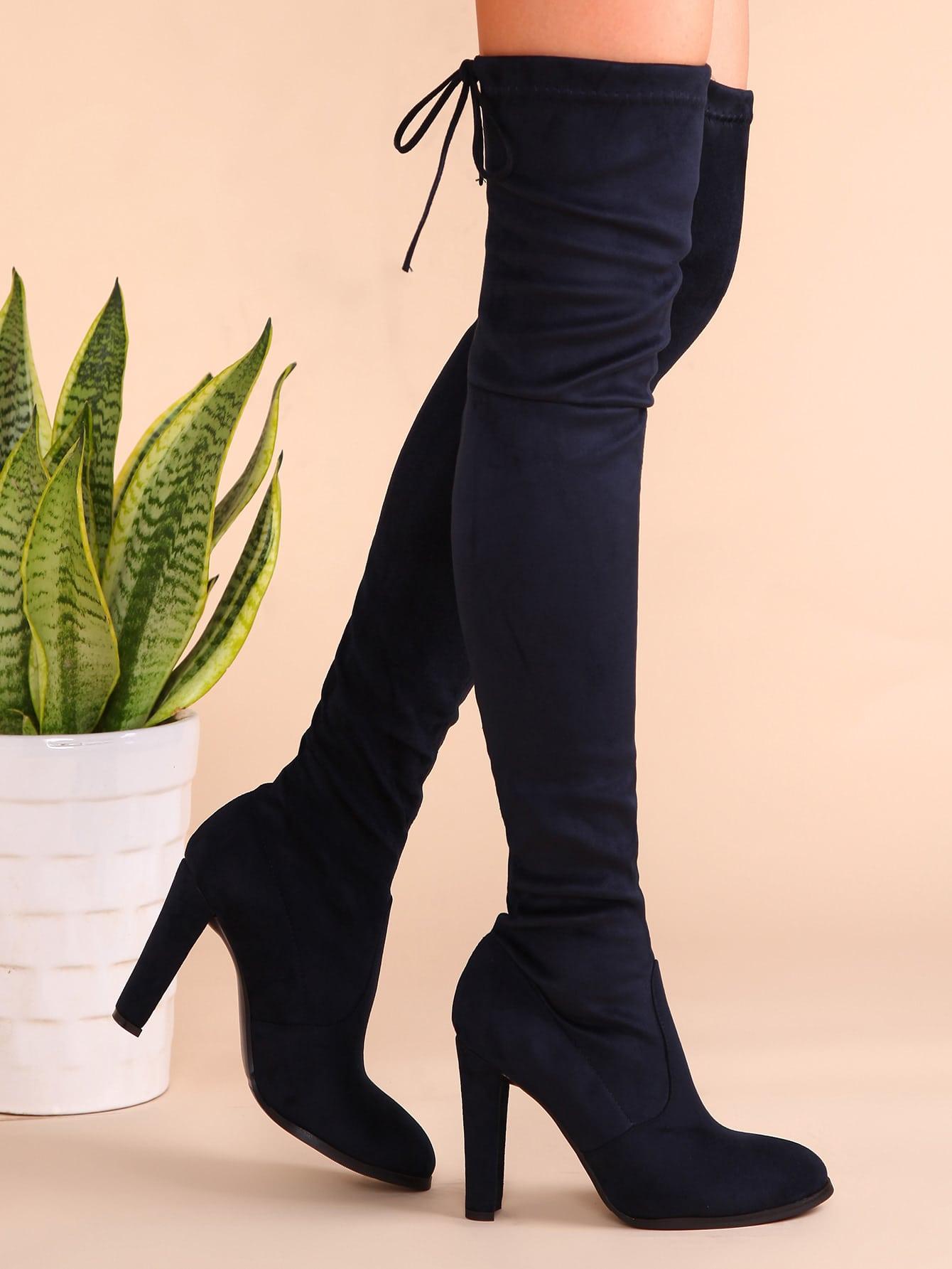 navy velvet point toe lace back over the knee boots shein sheinside. Black Bedroom Furniture Sets. Home Design Ideas