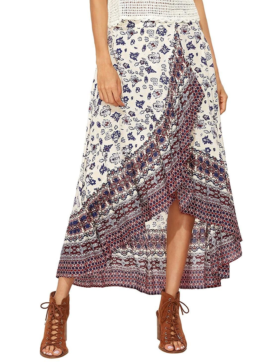 Фото Floral Print Crossover Asymmetrical Skirt. Купить с доставкой