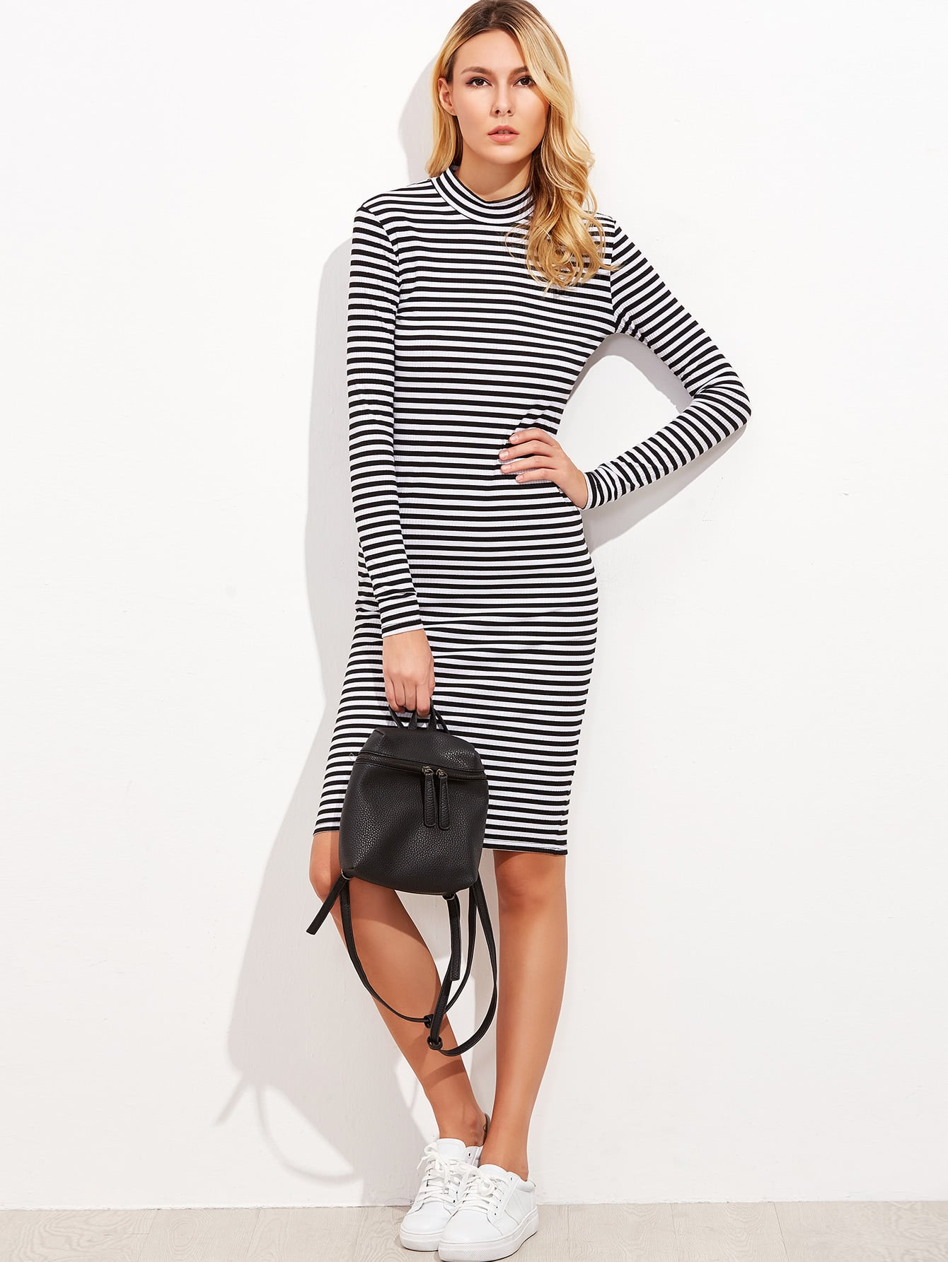 Black And White Striped Mock Neck Ribbed Dress dress161010401