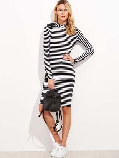 Black And White Striped Mock Neck Ribbed Dress