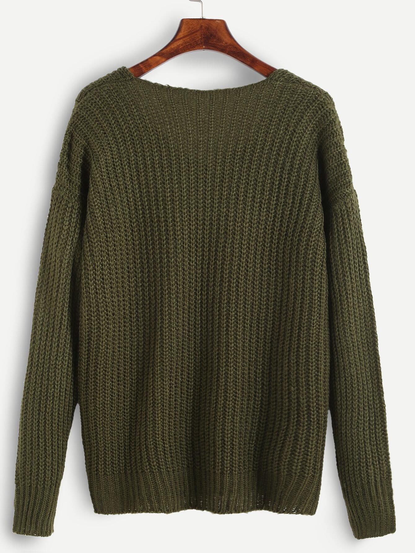 Ribbed Knit Drop Shoulder Sweater -SheIn(Sheinside)