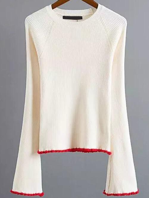 Beige Contrast Trim Bell Sleeve Knitwear sweater161012216