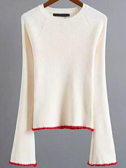 Beige Contrast Trim Bell Sleeve Knitwear