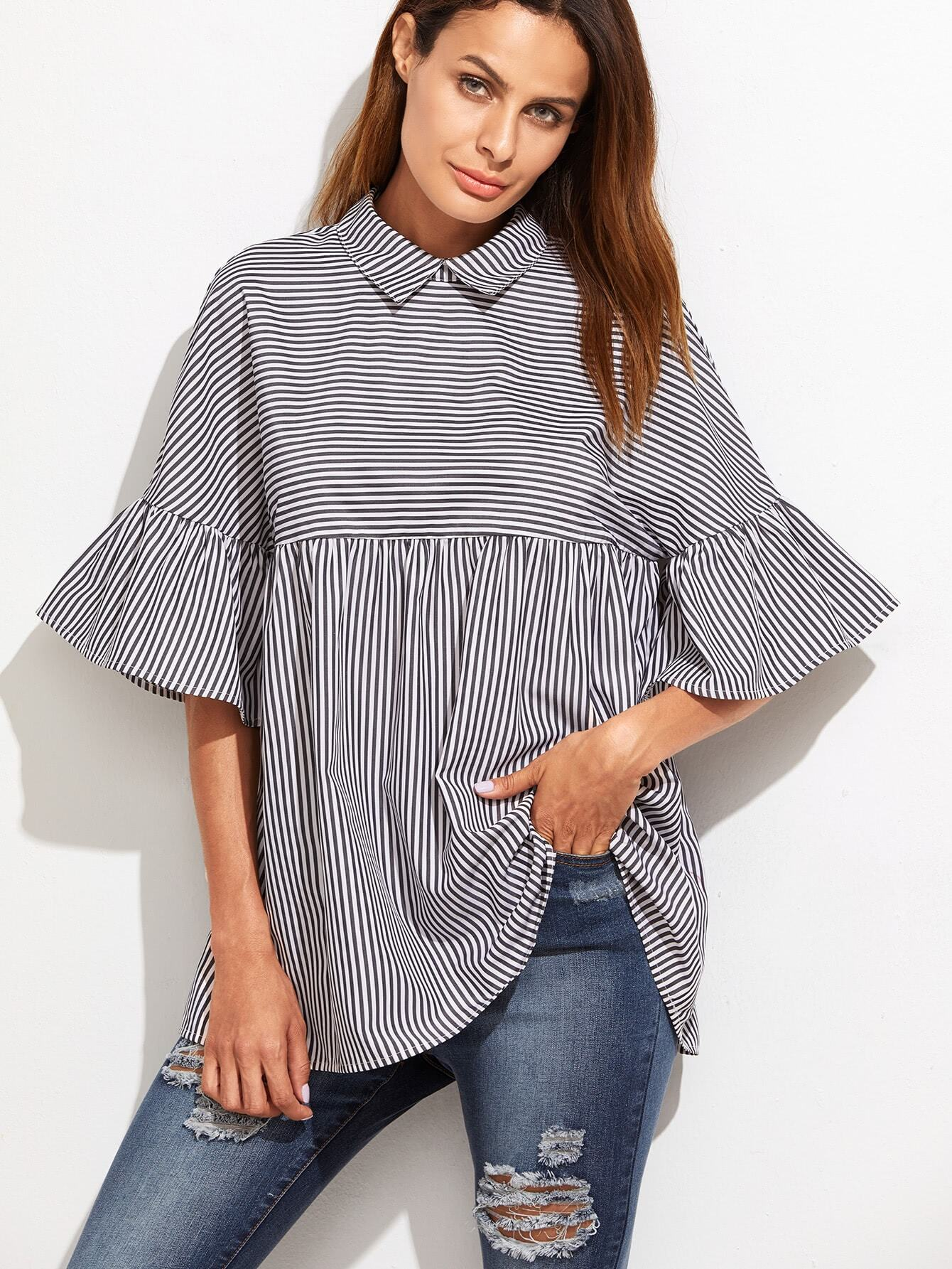 Striped Frill Sleeve Babydoll Top