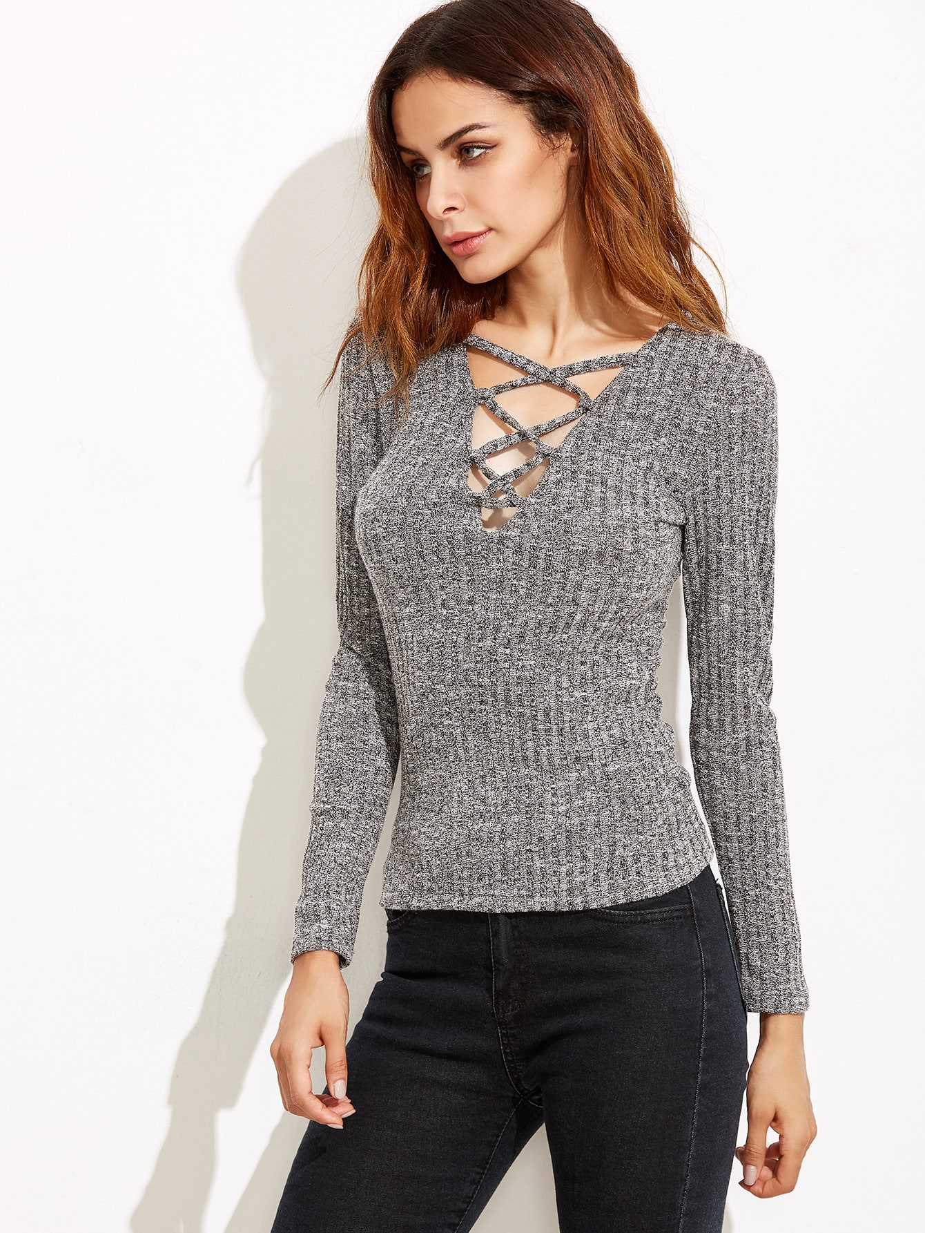 Plunge Crisscross Marled Knit Ribbed T-shirt marled knit button front staggered hem t shirt