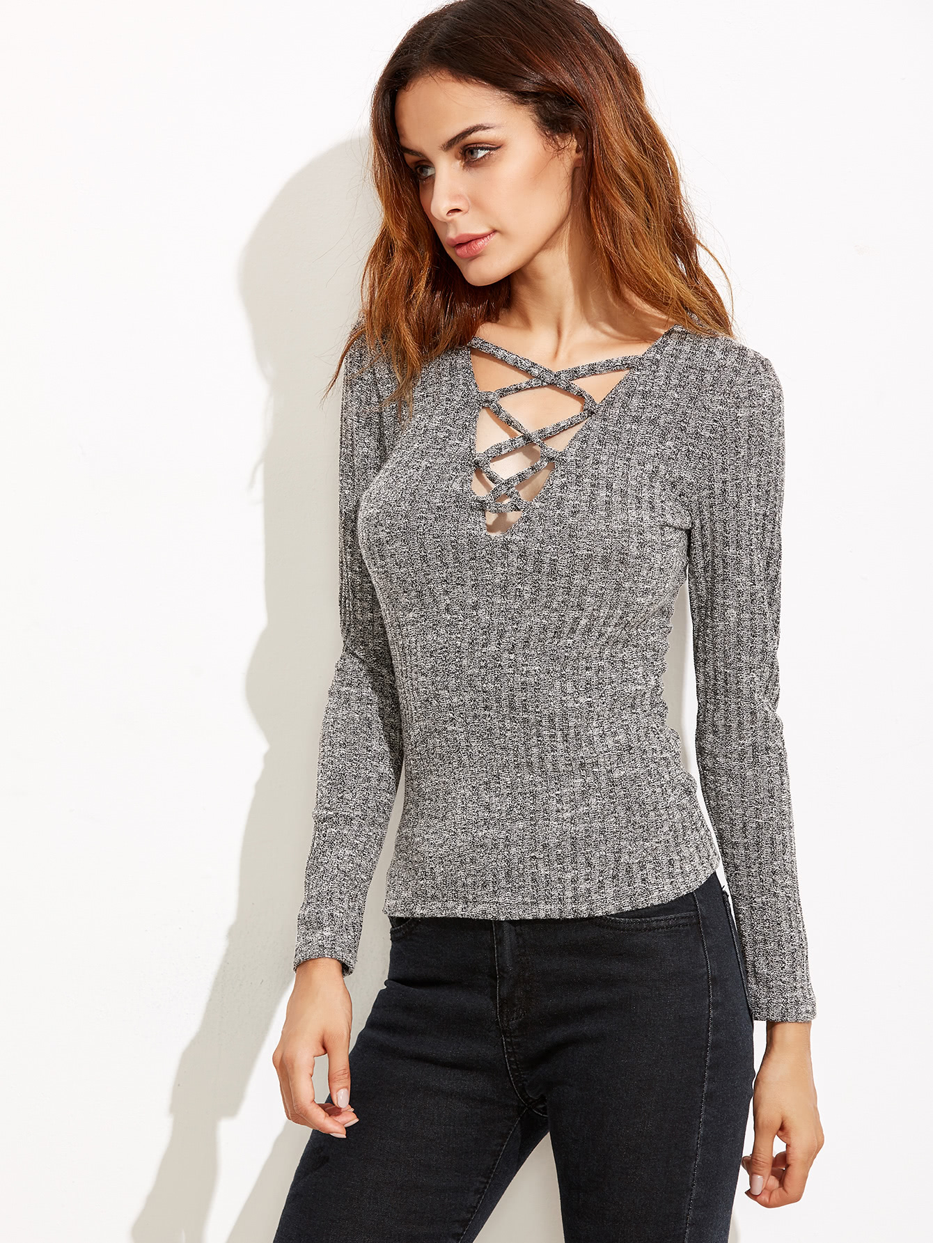 Heather Grey Deep V Neck Lattice Ribbed T-shirt RTSH160905111