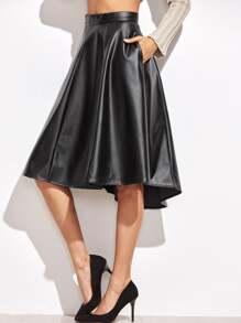 Black Faux Leather Asymmetric Paneled Skirt