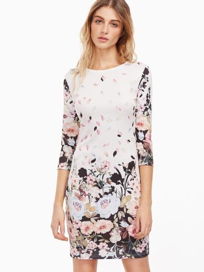 Модное облегающее платье с цветочным принтом