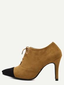 Brown Cap Toe Lace Up Suede Heels