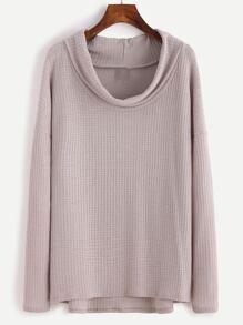 T-shirt col rond manche longue - gris