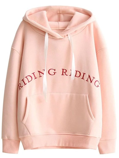 Pink Letter Embroidered Drawstring Hooded Sweatshirt