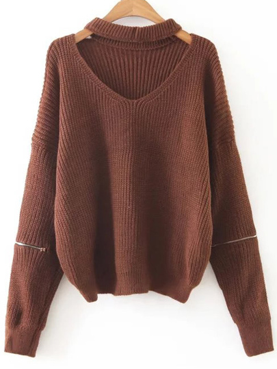 Coffee Choker V Neck Zipper Sleeve Sweater