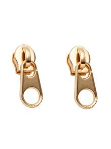 Gold Plated Funny Zipper Stud Earrings