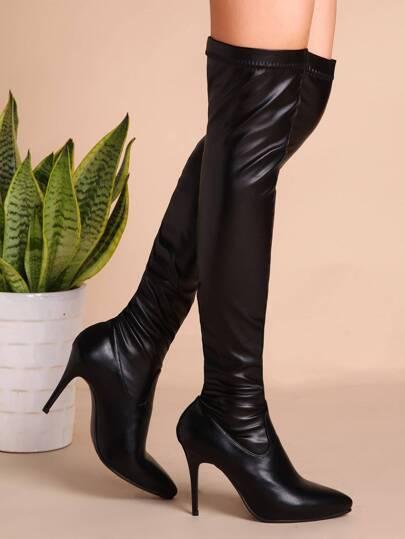Botas de cuero sintético con tacón - negro