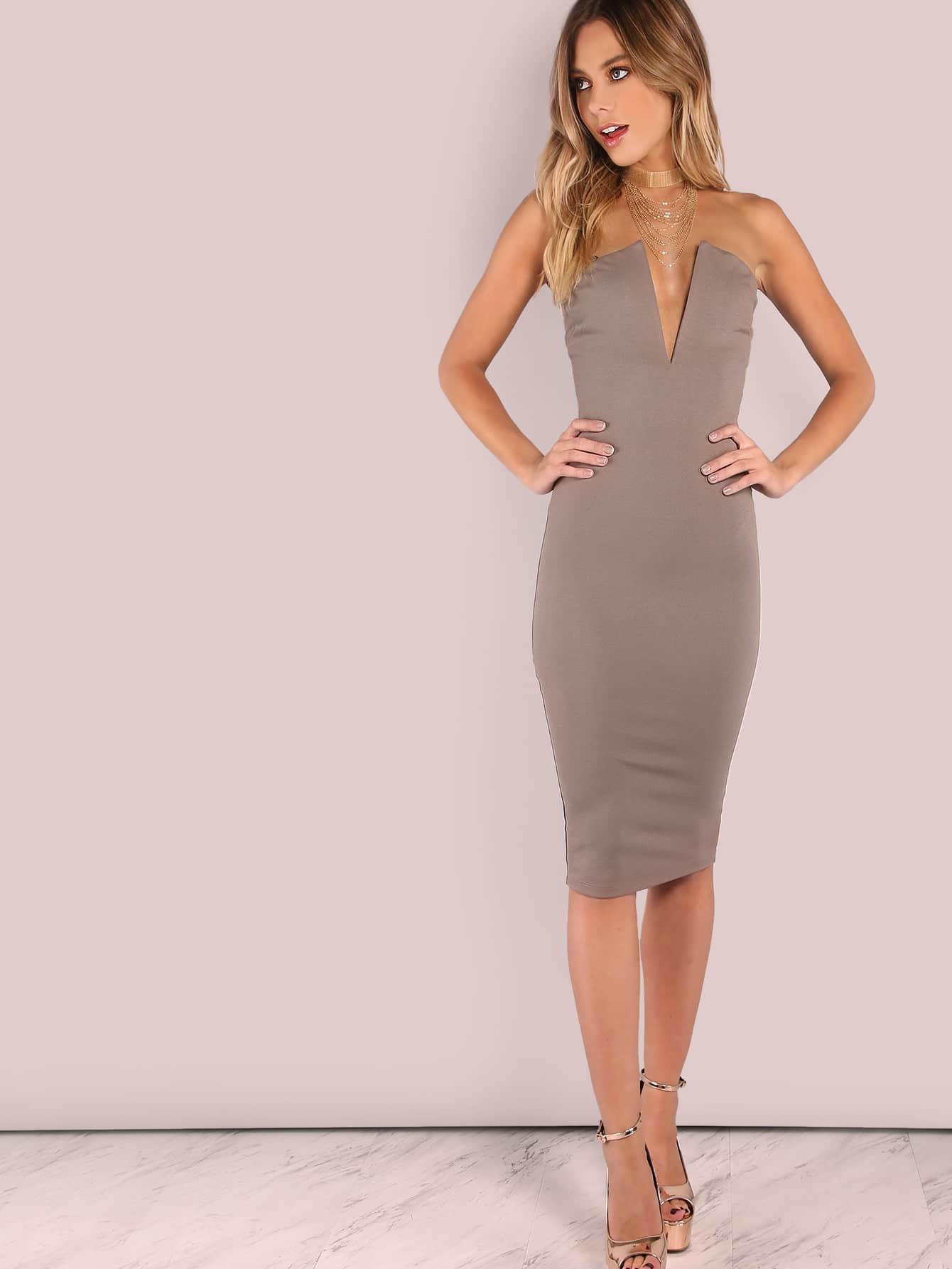 миди кофейное модное платье