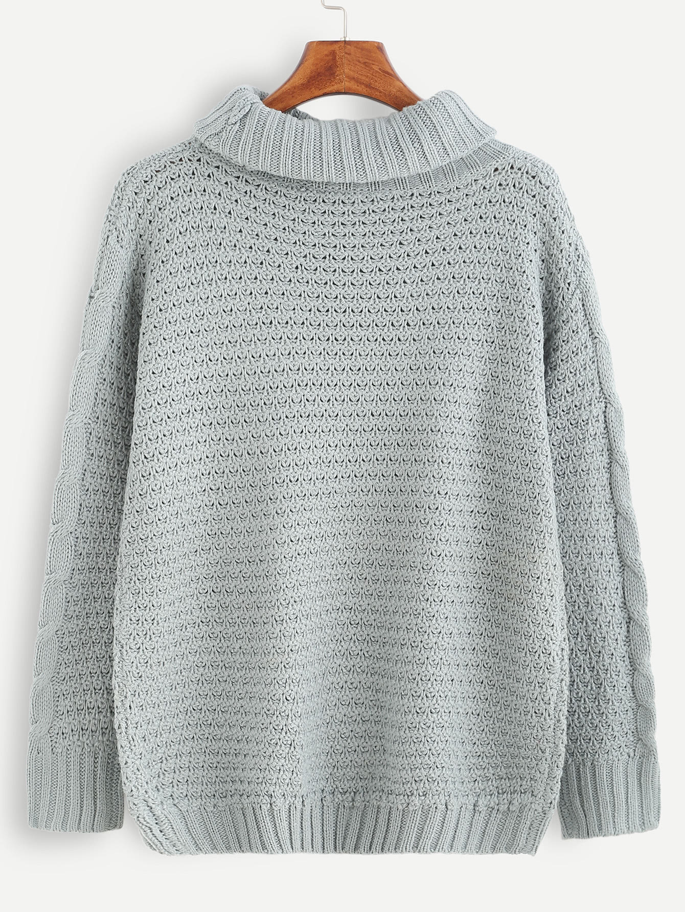 Grey Cable Knit Turtleneck Sweater -SheIn(Sheinside)