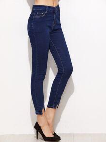Dark Blue Asymmetric Hem Skinny Jeans