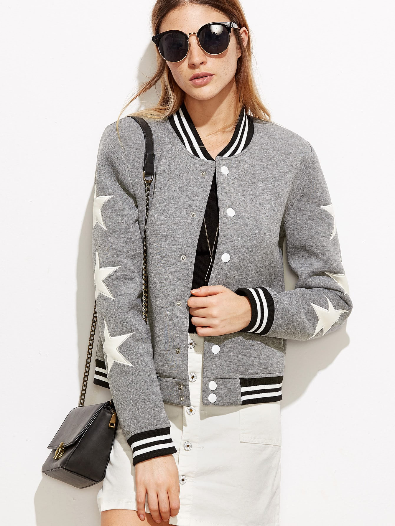 Heather Grey Striped Trim Star Patch Baseball JacketHeather Grey Striped Trim Star Patch Baseball Jacket<br><br>color: Grey<br>size: L,M,S,XS