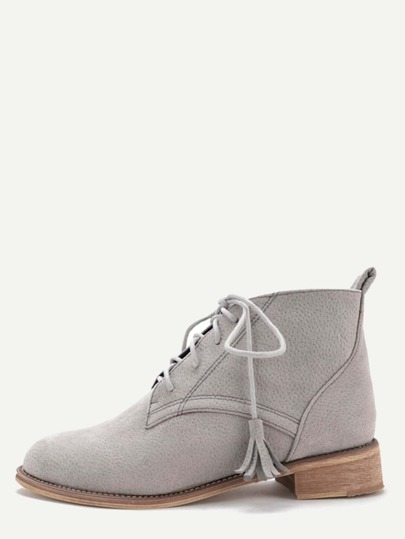 Grey Nubuck Leather Cork Heel Oxford Booties