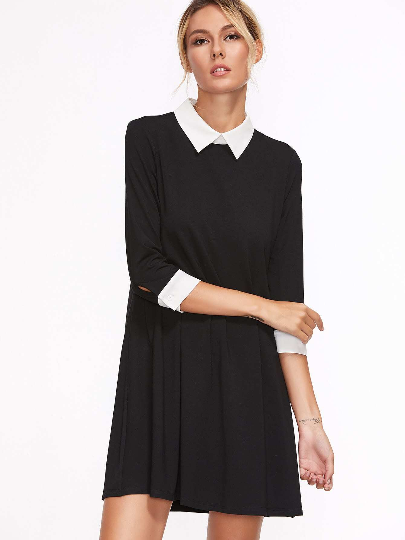 Contrast Collar And Cuff Swing Dress lace collar and cuff tunic dress