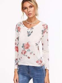 V Neckline Floral Print T-shirt