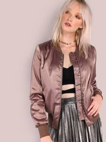 Lightly Padded Satin Bomber Jacket DARK MAUVE
