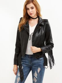 Black Faux Leather Fringe Trim Asymmetric Zip Biker Jacket