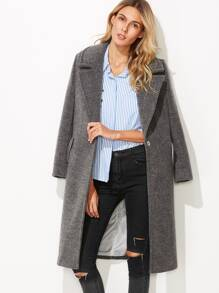 Heather Grey Notch Collar Hidden Button Overcoat