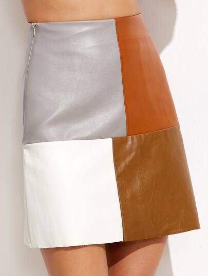 color block faux leather skirt shein sheinside