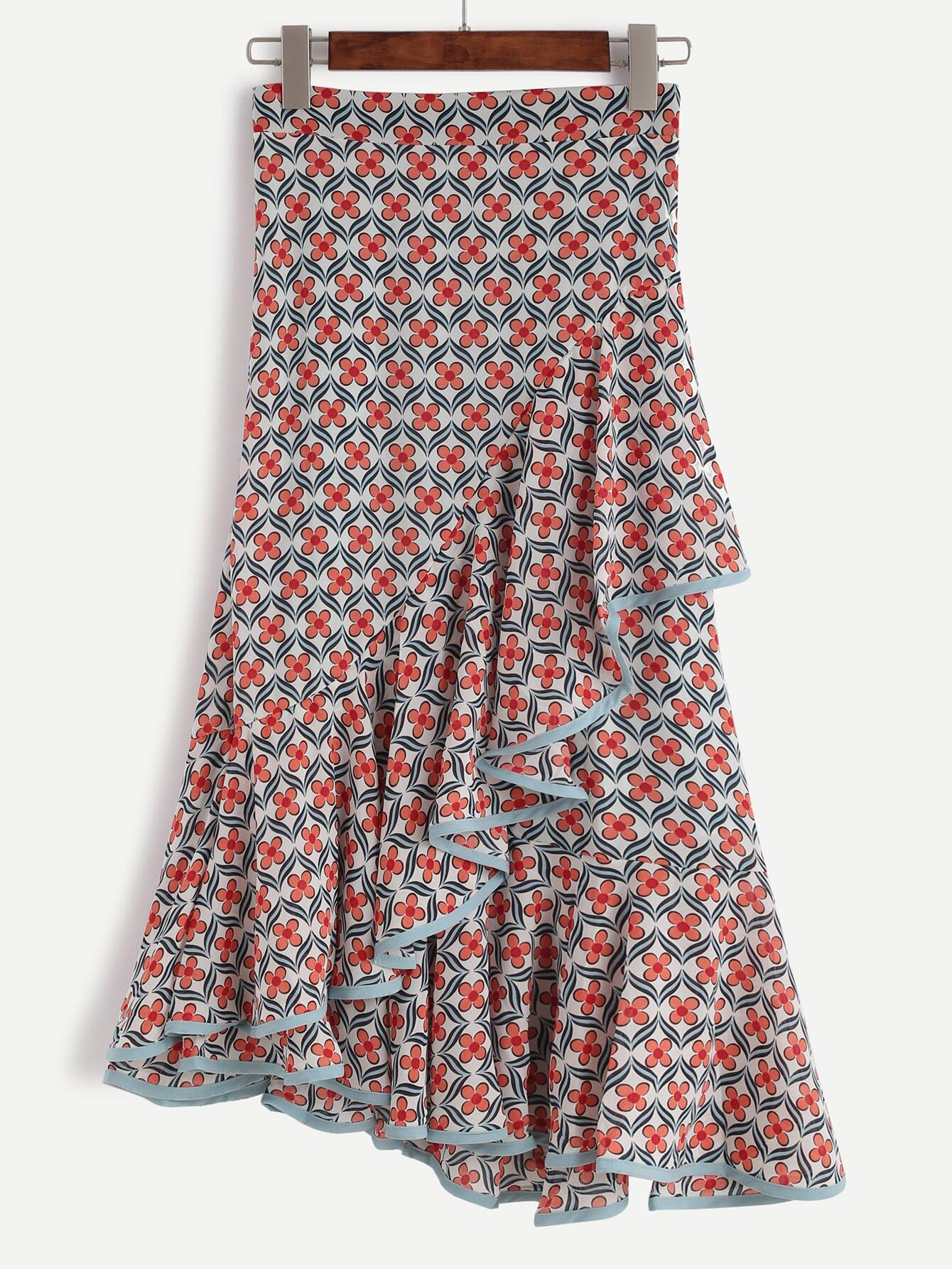 Multi Color Contrast Trim Florals Ruffle Chiffon Skirt skirt161011491