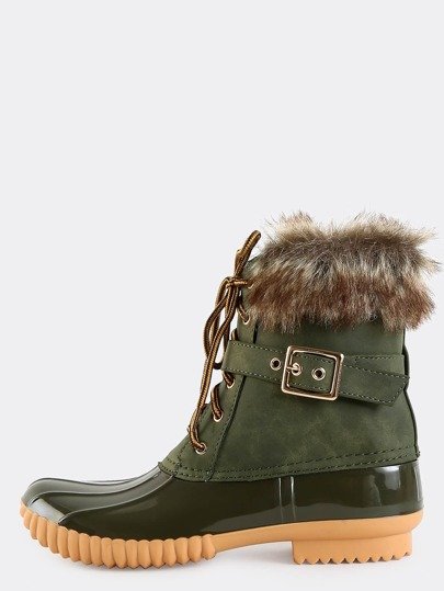 Contrast Faux Fur Duck Boots OLIVE