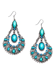 Turquoise Gemstone Hollow Out Vintage Drop Earrings