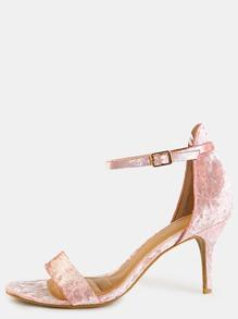 Crushed Velvet Single Sole Heels BLUSH